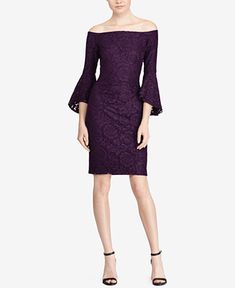 d75e7b4ff9b Lauren Ralph Lauren Off-The-Shoulder Lace Dress