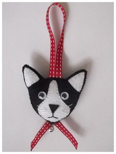 Felt Cat Face Hanging Ornament by CraftyCatLadyUK on Etsy                                                                                                                                                                                 More