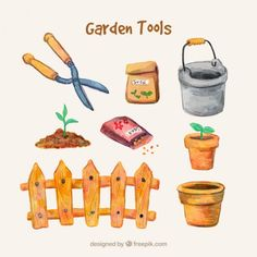 Hand painted gardening accessories Free Vector