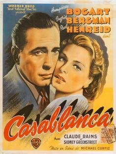 Original Spanish poster from the film ' Casablanca ' starring Humphrey Bogart, Ingrid Bergman and Claude Rains. Posters Vintage, Old Movie Posters, Classic Movie Posters, Cinema Posters, Classic Movies, Film Posters, Retro Posters, Ingrid Bergman, Humphrey Bogart