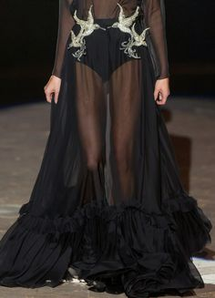 Golden Sparrows - sheer flowing black gown with bird appliqué; close up fashion detail // Francesco Scognamiglio