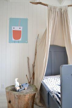 grey furniture + fun art