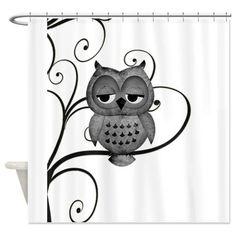 Black White Swirly Tree Owl Shower Curtain by Natures Little Treasures - CafePress Tree Shower Curtains, Custom Shower Curtains, Owl Bathroom, Owl Shower, Owl Cartoon, Owl Always Love You, Black Tree, Owl Art, Cute Owl