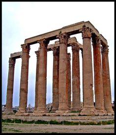 Temple of Zeus - Athens, Attiki Temple Architecture, Ancient Greek Architecture, Dream Vacation Spots, Dream Vacations, Ancient Ruins, Ancient Greece, Greece Honeymoon, Destroyer Of Worlds, Greek Art