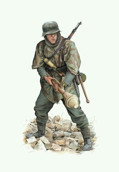 German Infantryman armed with a Panzerfaust, hand grenade and rifle, late Military Insignia, Military Art, Military History, Ww2 Uniforms, German Uniforms, Military Uniforms, German Soldiers Ww2, German Army, Tanks