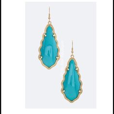 """Turquoise Resin Teardrop Earrings Gorgeous & High Quality. Stunning Color! Price firm unless bundled. 2.75"""" long. Jewelry Earrings"""