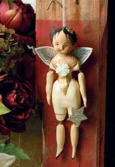 Her winsome demeanor tugs at the heart as her jointed body dangles from knobs, nails or plops about in quaint form. Making Paper Mache, Paper Mache Clay, Paper Mache Crafts, Clay Art, Vintage Dolls, Vintage Paper, Paper Dolls, Art Dolls, Christmas Love