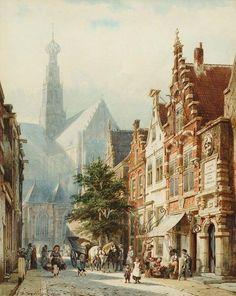 Cornelis Springer – Bedrijvigheid in de St. Jansstraat te Haarlem met op de achtergrond de St. Bavokerk