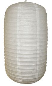 "Give your next event a unique touch with Just Artifacts paper lanterns. Capsule White Paper Lantern 10"" D x 20"" H"