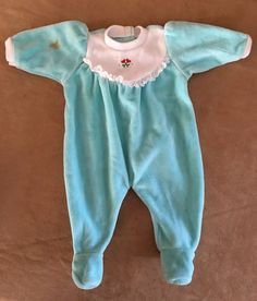 Meet Bitty Baby Pajamas sleeper Velour Aqua American Girl clothes pj clothing #AmericanGirl #ClothingShoes