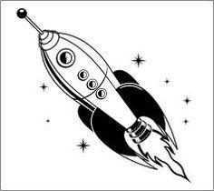 rocket ship retro kitschy