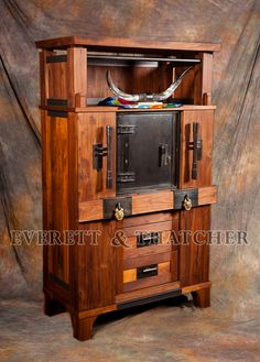 Unique Wood Cabinet for Safe