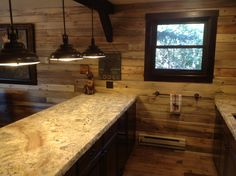 A beautiful interior project using our blue stain pine! It adds the perfect amount of character and charm to this kitchen, mixing modern and rustic. Check out our availability on our website rusticlumberco.com. Send in your project photos for a chance to be entered in our photo of the month contest-and don't forget to vote for this month's finalists here on Facebook, Instagram, Pinterest and our website!  #bluepine #wood #rustic #kitchen #diy #interiors #pine #lumber