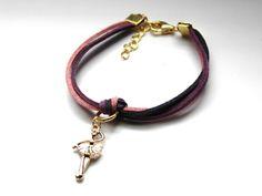 Różowo - fioletowa bransoletka z baletnicą w Especially for You! na http://pl.dawanda.com/shop/slicznieilirycznie #DaWanda #biżuteria #jewellery #jewelry #Schmuck #bransoletka #Armband #bracelet #handmade   #rzemienie #straps