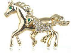 Gold Tone My Little Pony Horse Jockey Crystal Rhinestone Custom Made Brooch Pin Alilang. $8.99