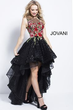 High low a line black prom dress with multi color floral embroidery features sleeveless bodice with crew sheer neckline and sheer back. Floral Prom Dresses, Prom Dresses Jovani, High Low Prom Dresses, Dance Dresses, Pretty Dresses, Homecoming Dresses, Beautiful Dresses, Evening Dresses, Short Dresses