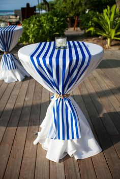 What if we do a yellow tablecloth, with navy and white overlay, and tie with a rope. Graduation Party Centerpieces, Party Table Decorations, Graduation Decorations, Graduation Party Decor, Wedding Decorations, Graduation Ideas, Grad Parties, Graduation Gifts, Wedding Chairs
