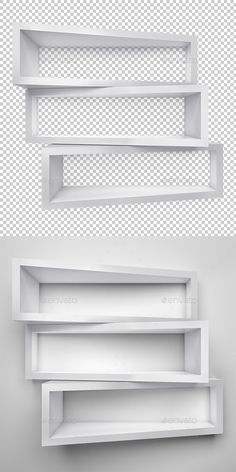 Empty three shelves on clean soft background.High quality 3d rendered and fine tuned in Photoshop.  Resolution: 60006000px, 300