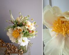 White and yellow peony bouquet: #bouquet #yellow: www.Saipua.com