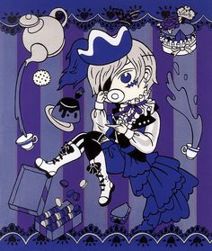 Black Butler/Kuroshitsuji Ciel Phantomhive et Desserts impression sérigraphique (10 3/8 « x 12 1/8 »)