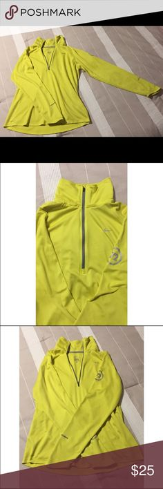 Nike Element Dri-Fit Half-Zip Running Jacket This bright dri fit pullover zip up is a fun addition to any workout wardrobe! Has a very light yellow geometric design that is hard to see unless looking very closely. Size XL. Nike Jackets & Coats