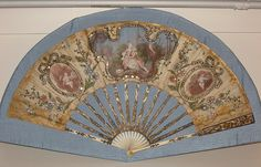 The fan is circa French. It's painted silk with ivory sticks, leaf, spangles, and embroidery. Antique Fans, Vintage Fans, Antique Silver, Edwardian Era, Victorian Era, Hand Held Fan, Hand Fans, Art Nouveau Tiles, Old Fan