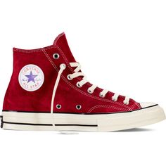 Converse Chuck Taylor All Star '70 Vintage Suede – red... ($95) ❤ liked on Polyvore featuring shoes, sneakers, converse, trainers, sapatos, black suede shoes, black shoes, red shoes, vintage sneakers and suede sneakers