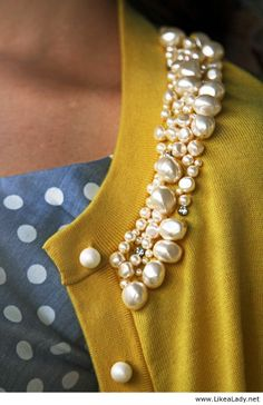 Kate Spade mustard pearl card with a dotty grey blouse