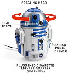 R2-D2 USB Car Charger Compatible with anything that charges via USB Two (2) USB charging ports Each port provides 2.1 Amps (enough to charge 2 tablets simultaneously)  !!!! R2-D2's dome rotates and lights up; he whistles and beeps Flexible arms allow you to customize him to best fit your vehicle's cupholder