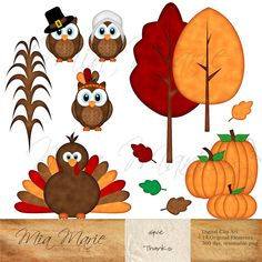 Digital Clip Art - Thanksgiving clipart, Thanksgiving clip art, Fall clip art, Turkey, Owl, Pilgrim, Birds, Tree, Leaves - 14 elements. $5.00, via Etsy.