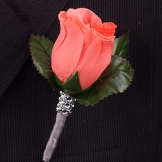 Coral Rose boutonniere with Gray ribbon and bling
