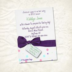 purple ribbon polka dot baby shower invitation by persnickitude, $12.00