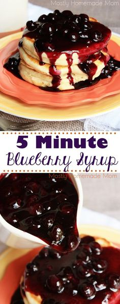 5 Minute Blueberry Syrup (VIDEO) 5 Minute Homemade Blueberry Syrup is super easy with one pint of blueberries and pantry staple ingredients! Perfect over pancakes, waffles, or vanilla ice cream! Cheap Clean Eating, Clean Eating Snacks, Gourmet Recipes, Cooking Recipes, Blueberry Recipes, Blueberry Pancake Syrup Recipe, Blueberry Ideas, Kitchenaid, Super Easy