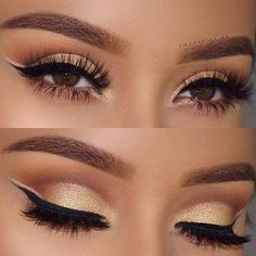 21 Insanely Beautiful Makeup Ideas for Prom: #20. GOLD EYE MAKEUP + DOUBLE EYELINER