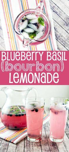 Blueberry Basil (Bourbon) Lemonade: Celebrate the best parts of summer with fresh squeezed blueberry basil lemonade - a generous…