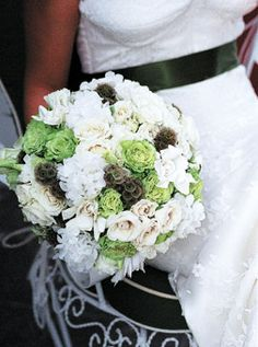 Browse Bouquets wedding flowers to find bouquets, centerpieces & boutonnieres.Get inspired ideas for everything from classic white wedding bouquets to unique floral wedding décor. Wedding Flower Photos, White Wedding Bouquets, Flower Bouquet Wedding, Green Wedding, White Spray Roses, White Hydrangeas, Floral Wedding Decorations, Wedding Ideas, Wedding Stuff
