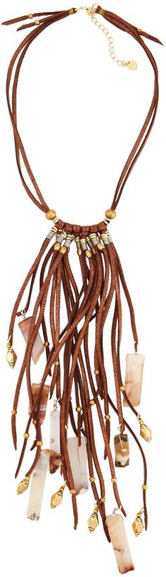 Nakamol Leather & Agate Tassel Necklace, Brown