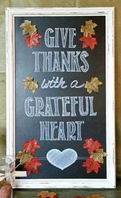 Welcome your Thanksgiving guests with this handmade Give Thanks Chalkboard sign.