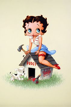 betty boop and pudgy artwork | Betty Boop Building Pudgy's Dog House Canvas Print - iCanvasART