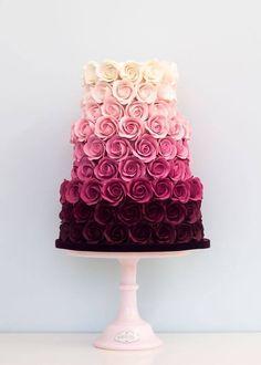 Ombre cream to marsala rose wedding cake #weddingcake #marsala #burgundy #pink