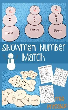 This fun free printable snowman number match game is a great way to practice number recognition! Use marshmallows as incentive AND manipulatives! Preschool Kindergarten, Preschool Learning, Classroom Activities, Activities For Kids, Winter Activities, Teaching, Preschool Winter, Preschool Curriculum, Homeschooling