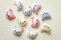 SALE 10 pcs Tiny Pearlized Kawaii Kitty Cabochon (11mm13mm) DR073 (((LAST))) on Etsy, £2.13