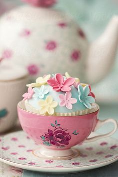 Flower cupcake in a vintage teacup by Ruth Black