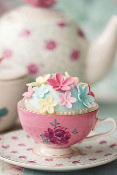 Flower cupcake in a vintage teacup by Ruth Black