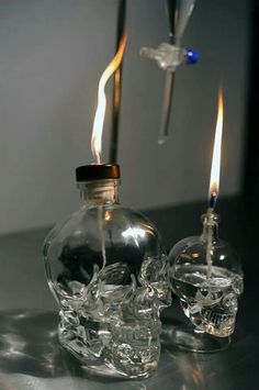 Crystal skull vodka lamps