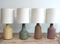 Los Angeles–based potter Victoria Morris is known for her tableware—large serving bowls in speckled, earthy brown and lavender glazes—in a style somewhere between California craftsman and countryside Japanese. We recently took note of her lamps, Lighting Inspiration, Ceramics, Lamp, Pottery Lamp, Accent Lamp, Ceramic Table, Traditional Pottery, Ceramic Table Lamps, Decor Lighting