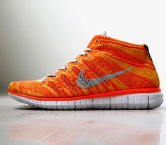 Nike Free Flyknit Chukka-Total Orange-White-Grey
