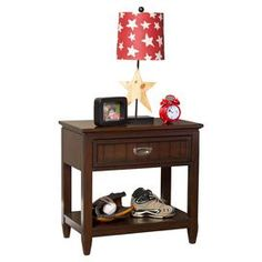 """Wood nightstand with 1 dovetail drawer and a lower display shelf.  Product: NightstandConstruction Material: Solid woodColor: Rich espressoFeatures:  Open lower shelfOne drawer Dimensions: 25"""" H x 26"""" W x 15.75"""" D"""