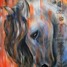 Latvian mythology horse by Inese Auzina Horse Paintings, Traditional Art, Contemporary Artists, Design Elements, Mythology, Arts And Crafts, Horses, Culture, Canvas