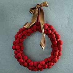 Felt Ball Wreath - Red #WestElm  this would be fun to make with the kids